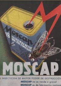 1936 Publicidad insecticida Moscap passpartú biselado beige 29,9×29,9 cm