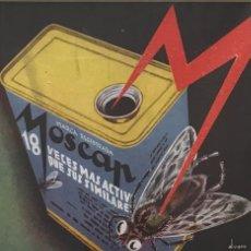 Carteles Publicitarios: 1936 PUBLICIDAD INSECTICIDA MOSCAP PASSPARTÚ BISELADO BEIGE 29,9×29,9 CM. Lote 155293342