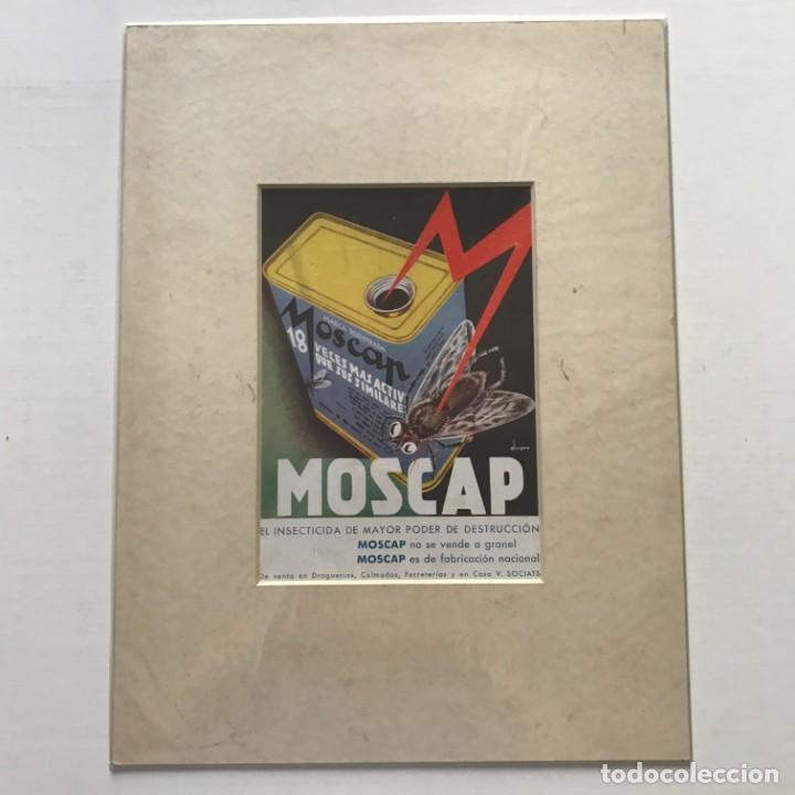 Carteles Publicitarios: 1936 Publicidad insecticida Moscap passpartú biselado beige 29,9×29,9 cm - Foto 2 - 155293342