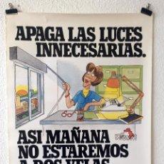 Carteles Publicitarios: CARTEL RENFE CAMPAÑA AHORRO ENERGÉTICO INTERNO 1983 MODELO LUCES. Lote 155549954