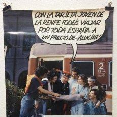 Carteles Publicitarios: CARTEL RENFE CAMPAÑA TARJETA JOVEN DE LA RENFE UNA MOVIDA TOTAL 1985. Lote 253002050