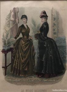 1885 Antigua lámina moda con passpartú beige 35×41,7 cm