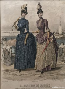 1886 Antigua lámina moda con passpartú beige 35×41,7 cm