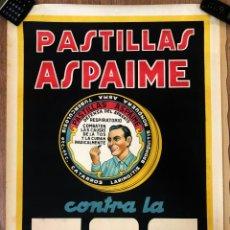 Carteles Publicitarios: CARTEL ANTIGUO - CARTEL PASTILLAS ASPAIME CONTRA LA TOS. AÑOS 40. Lote 157407674