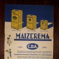 Carteles Publicitarios: ANTIGUO CARTEL C.D.A. MAIZ CREMA SAN SEBASTIAN. Lote 157876274