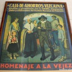 Carteles Publicitarios: ESPECTACULAR CARTEL CAJA DE AHORROS VIZCAINA. HOMENAJE A LA VEJEZ. ALBERTO ARRUE. CIRCA 1930. Lote 160100212