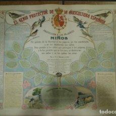 Affissi Pubblicitari: CARTEL DE GRABADOS LITOGRAFIADOS CON PAJARITOS. JUAN CRUZ BUSTO. S.XIX PRINCIPIOS DEL XX. Lote 190713640