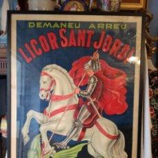 Carteles Publicitarios: GRAN CARTEL ANTIGUO ENMARCADO DE LICOR SANT JORDI, DE ARENYS DE MUNT.. Lote 161533706