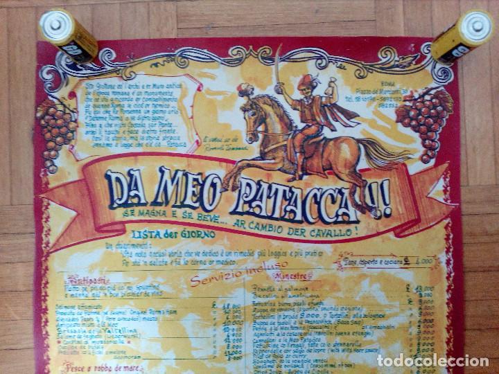 Carteles Publicitarios: CARTEL CON CARTA, MENU DE RESTAURANTE DA MEO PATACCA. ROMA ITALIA 60S ROME CAFE. - Foto 2 - 163402750