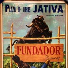 Carteles Publicitarios: PLAZA DE TOROS DE JATIVA (VALENCIA) - PUBLICIDAD DE FUNDADOR DOMECQ - AÑO 1967. Lote 165232250