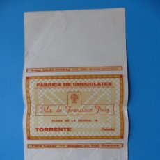 Carteles Publicitarios: PAPEL DE FABRICA DE CHOCOLATES VIUDA DE FRANCISCO PUIG, TORRENTE, VALENCIA - AÑOS 1950-60. Lote 165639294