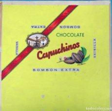 Carteles Publicitarios: CARTEL PUBLICIDAD ETIQUETA CHOCOLATE CAPUCHINOS CORDOBA GRANDE ORIGINAL COLOR PINTADO A MANO. Lote 165870454