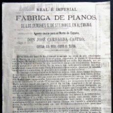 Carteles Publicitarios: GALICIA.SANTIAGO. CARTEL PUBLICITARIO DE PIANOS SIGLO XIX. TRIPLE IMPRESION. JOSE CARDALDA CASTRO. Lote 166247834