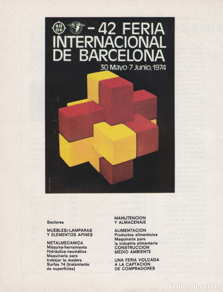 HOJA PUBLICIDAD 42 FERIA INTERNACIONAL BARCELONA 1974 (Coleccionismo - Carteles Gran Formato - Carteles Publicitarios)