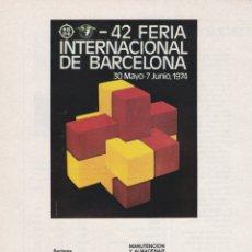 Carteles Publicitarios: HOJA PUBLICIDAD 42 FERIA INTERNACIONAL BARCELONA 1974. Lote 166401354
