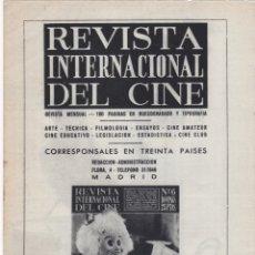 Carteles Publicitarios: HOJA PUBLICIDAD REVISTA INTERNACIONAL DEL CINE. Lote 166549482