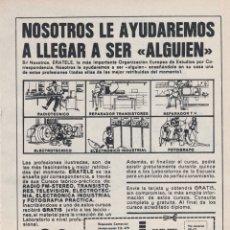 Carteles Publicitarios: HOJA PUBLICIDAD ERATELE BARCELONA. Lote 166552074
