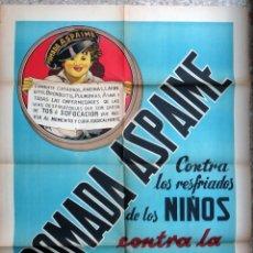 Carteles Publicitarios: CARTEL PUBLICIDAD POMADA ASPAIME CONTRA LA TOS , PARA NIÑOS , LITOGRAFIA , ORIGINAL . Lote 167740200