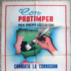 Carteles Publicitarios: CARTEL PUBLICIDAD PINTURA PROTIMPER IMPERMEABILIZANTE GAS LEBON , 1961 , LITOGRAFIA , ORIGINAL. Lote 167740852