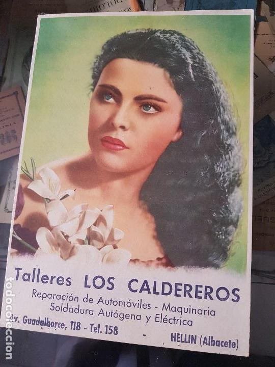 ANTIGUO CARTEL CARTON TALLER MECANICO HELLIN ALBACETE (Coleccionismo - Carteles Gran Formato - Carteles Publicitarios)