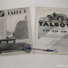 Carteles Publicitarios: DOS HOJAS PUBLICITARIAS DE TALBOT. AÑOS 20.. Lote 168332864