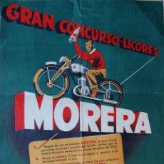 Affiches Publicitaires: CARTEL DEL CONCURSO DE LICORES MORERA CON UNA MOTO MONTESA DE PREMIO. BARCELONA, 1949. 40 CM X 30 CM. Lote 168520197