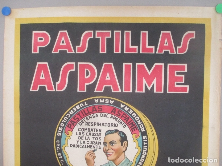 Carteles Publicitarios: CARTEL PUBLICIDAD PASTILLAS ASPAIME, CONTRA LA TOS, MIDE APROX. 70 X 100 CMS - Foto 2 - 169302240