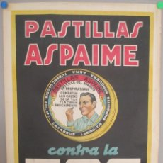 Carteles Publicitarios: CARTEL PUBLICIDAD PASTILLAS ASPAIME, CONTRA LA TOS, MIDE APROX. 70 X 100 CMS. Lote 169302240