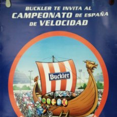 Carteles Publicitarios: CARTEL. CAMPEONATO DE ESPAÑA DE VELOCIDAD. CERVEZA BUCKLER. MEDIDAS: 68.5 X 48 CM. APROX.. Lote 171368979