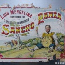 Carteles Publicitarios: CARTEL SANCHO PANZA, LUIS MERGELINA COSECHERO AMONTILLADO SANLUCAR DE BARRAMEDA, CADIZ, AÑOS 1920-30. Lote 171696882