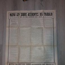 Carteles Publicitarios: CARTEL ANTIGUO ,MUTUA VALENCIANA SOBRE ACCIDENTES DE TRABAJO 1922.. Lote 171734732