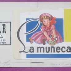 Carteles Publicitarios: DIBUJO ORIGINAL, PINTADO A MANO, LA MUÑECA, POPULAR PURA LANA, VALENCIA. Lote 171751130