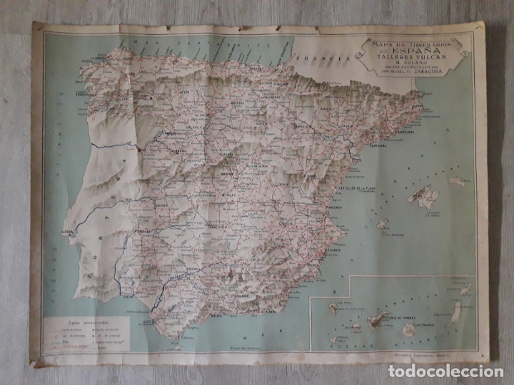 CARTEL MAPA DE ITINERARIOS AÑOS 30 -TALLERES VULCAN - ZARAGOZA, VER, (Coleccionismo - Carteles Gran Formato - Carteles Publicitarios)