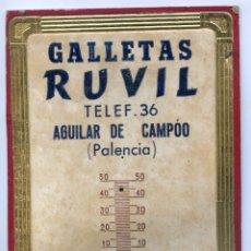 Carteles Publicitarios: CARTÓN DE CALENDARIO CON PUBLICIDAD GALLETAS RUVIL, AGUILAR DE CAMPOO, PALENCIA, AÑOS 20. Lote 172274320