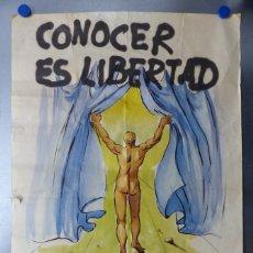 Carteles Publicitarios: CARTEL CONOCER ES LIBERTAD, FILOSOFIA DE ORIENTE Y OCCIDENTE, NUEVA ACROPOLIS - AÑO 1980. Lote 172684909