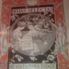 Carteles Publicitarios: CARTEL PUBLICIDAD HOJAS SELECTAS POR ALEXANDRE DE RIQUER 1905. MODERNISMO. Lote 173424592