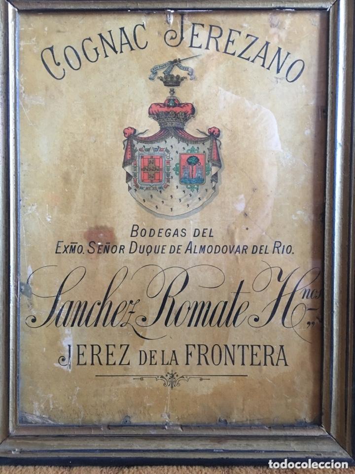 CARTEL PUBLICIDAD COGNAC SANCHEZ ROMATE JEREZ DUQUE DE ALMODOVAR DEL RIO + CARPINTERÍA SAN JOSÉ (Coleccionismo - Carteles Gran Formato - Carteles Publicitarios)