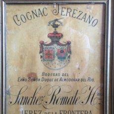 Carteles Publicitarios: CARTEL PUBLICIDAD COGNAC SANCHEZ ROMATE JEREZ DUQUE DE ALMODOVAR DEL RIO + CARPINTERÍA SAN JOSÉ. Lote 173659148