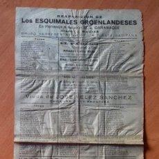 Carteles Publicitarios: CARNAVAL DE CADIZ TIRA HOJILLA REAPARICIÓN DE LOS ESQUIMALES GROENLANDESES . Lote 175819514