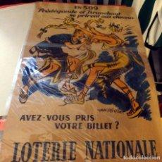 Carteles Publicitarios: FRANCIA, 1958, CARTEL ORIGINAL LOTERIE NATIONALE, 38X58 CMS. Lote 177107750