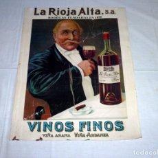 Carteles Publicitarios: CARTEL DE CARTON - LA RIOJA ALTA.S.A - VINOS FINOS.VER DESCRIPCION.. Lote 179053418
