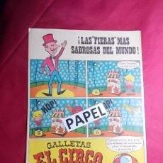 Carteles Publicitarios: FOLLETO PUBLICITARIO. GALLETAS EL CIRCO DE SOLSONA AÑOS 60. Lote 179082697