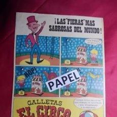 Carteles Publicitarios: FOLLETO PUBLICITARIO. GALLETAS EL CIRCO DE SOLSONA AÑOS 60. Lote 179082800
