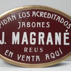 Carteles Publicitarios: ANTIGUO CARTEL DE PROPAGANDA JABONES J. MAGRANE - REUS . REALIZADO EN CARTON . PARA COLGAR. Lote 179174442