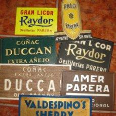 Carteles Publicitarios: 7 CARTEL CARTON PUBLICIDAD LICOR PALO AMER DESTILERIAS PARERA COÑAC DUCAN DUCCAL SHERRY VALDESPINO. Lote 180421002