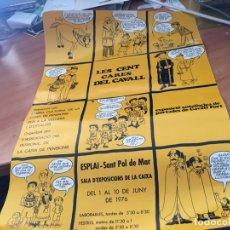 Carteles Publicitarios: AUCA LES CENT CARES DE CAVALL SANT POL DE MAR . DIBIJANTE PILARIN 49 X 34 CM CATALAN 1975 (AB-1). Lote 180498571