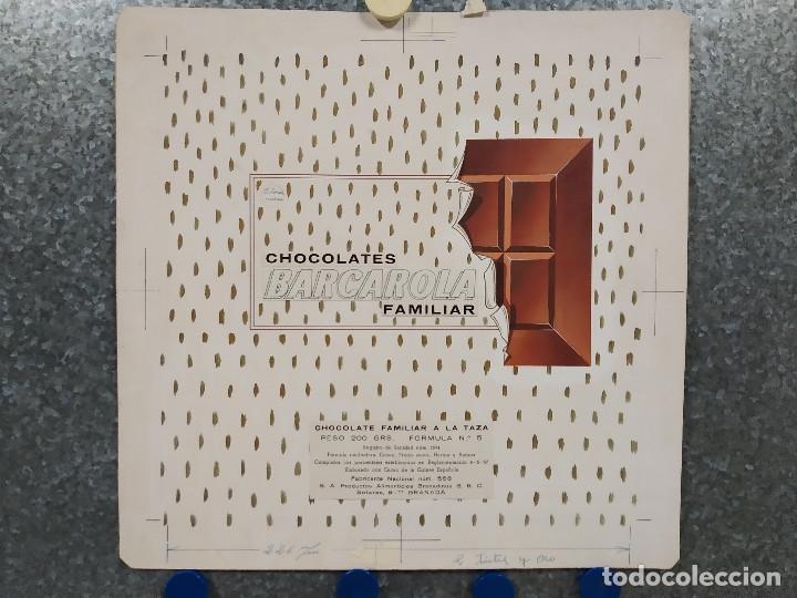 CHOCOLATES BARCAROLA, GRANADA. PUBLICIDAD, ORIGINAL PINTADO A MANO (Coleccionismo - Carteles Gran Formato - Carteles Publicitarios)