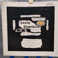 Carteles Publicitarios: CHOCOLATES SANTA ENGRACIA, DURAN, GATA (CACERES). PUBLICIDAD, ORIGINAL PINTADO A MANO. Lote 181398696