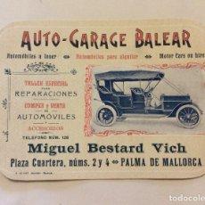 Carteles Publicitarios: PUBLICIDAD AUTO-GARAGE BALEAR -MIGUEL BESTARD VICH ,PALMA MALLORCA PEO.SIGLO XX. Lote 182910165