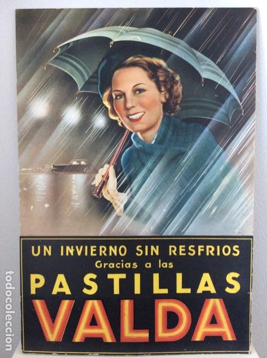 CARTEL EXPOSITOR ORIGINAL DE LOS AÑOS 40 PASTILLAS VALDA (Coleccionismo - Carteles Gran Formato - Carteles Publicitarios)